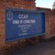 Wall sign of CCAP Livingstonia Headquarters at Mzuzu, street entrance