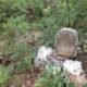 The Nchenjere headstone sits upon a rock in front of a passing stream