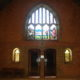 Wider view of stain glass window at CCAP Livingstonia which depicts David Livingstone's first meeting with the chiefs.